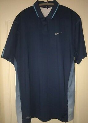 b7810d8a Nike Tiger Woods TW Collection Mens Short Sleeve Golf Polo Shirt L LARGE  Blue