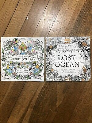 Johanna Basford Enchanted Forest Inky Quest Coloring Book + Lost Ocean Adventure