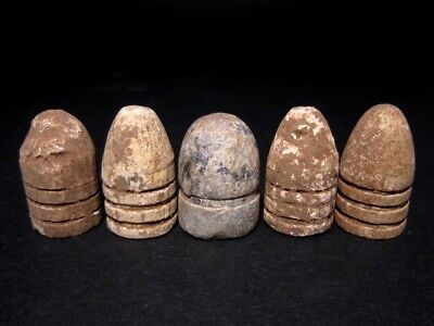 LOT of 5 pcs. 19th. CENTURY ANTIQUE LEAD BULLETS, Metal Detector Finds+++