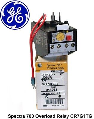💲GE Spectra 700 Overload Relay CR7G1TG Manual/Stop Reset 1.3-1.9 Amps 💲