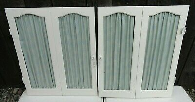 "Pair of Vintage Wood Interior Window Shutters Curtain Style White 25 3/8"" x 21"""