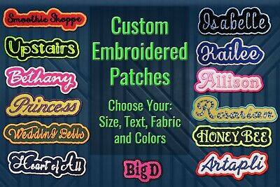Custom Embroidered Patch Personalized Name or Text Iron On/Sew On with Outline B