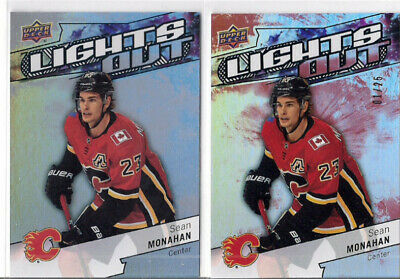 2018-19 Upper Deck Overtime Sean Monahan Lights Out Insert + Red Parallel /25