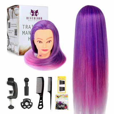 Neverland Beauty 26 Inches 100% Synthetic Purple Fiber Hair Hairdressing Head +