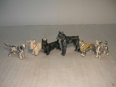Vintage Antique Lot of Lead Cast Iron ? Dogs Scotty Airdale Collie Pointer ? ++