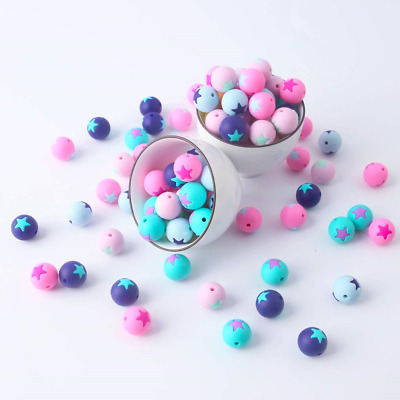 Mamimami home 50pc 15MM Baby Silicone Teether Star Beads Chewable DIY Necklace