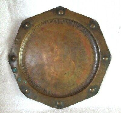 "Antique Arts & Crafts Hammered Copper 12.5"" Plate Craftsman Signed Artist DINGLE"