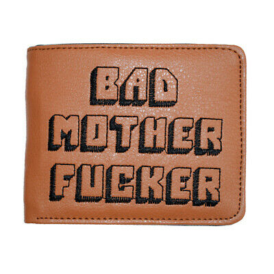 BAD MOTHER WALLET |BMF| Embroidered BROWN Leather Purse As Seen In PULP FICTION