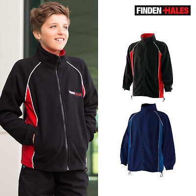 Finden & Hales Kids Piped Microfleece Zipped Jacket LV552-Junior Long Sleeve Top