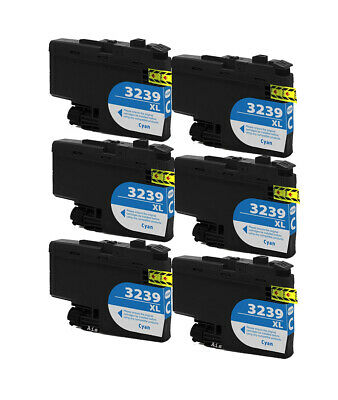 6 Cyan Compatible Ink Cartridges, For Brother LC3239XLC, LC-3239XLC, NON-OEM