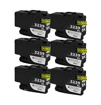 6 Black Compatible Ink Cartridges, For Brother LC3239XLBK, LC-3239XLBK, NON-OEM