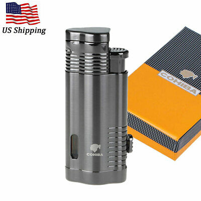 COHIBA Metal Windproof Cigar Cigarette Lighter 3 Torch Butane Jet Flame w/ Punch