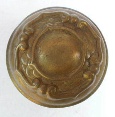 Antique Single Ornate Victorian Art Nouveau Cast Brass Door Knob Floral