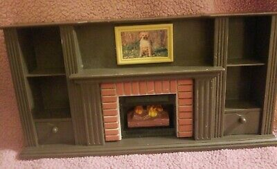 "VTG KEENWAY miniature Doll House Furniture fireplace w/shelves 8.75""w x 4.5"" h."