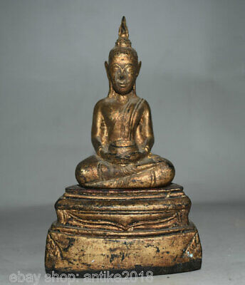 Antiques Antiquities 32cm Old Tibet Incense Ashes Inlay Gem Buddha Statue Jewelry Box Case Statue