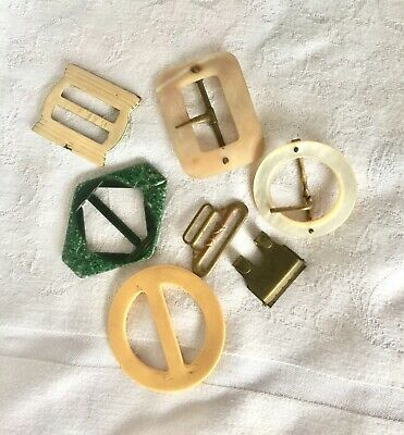 Lot Of 6 Antique Belt Buckles, MOP, German Painted Metal, Brass