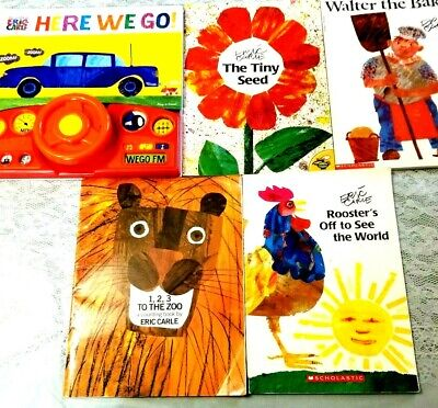 Lot of 8 Childrens Picture Books Eric Carle Here We Go WITH SOUNDS Rooster