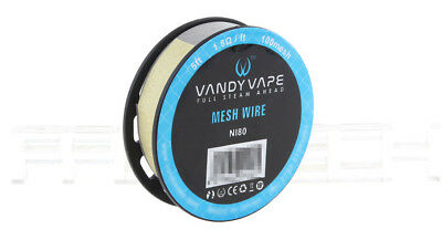 Authentic Vandy Vape Ni80 Mesh Wire 1.8ohm/feet / 5 feet / 100mesh