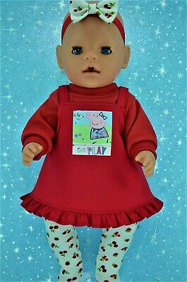 """Play n Wear Doll Clothes To Fit 17"""" Baby Born RED DRESS~TOP~TIGHTS~HEADBAND"""