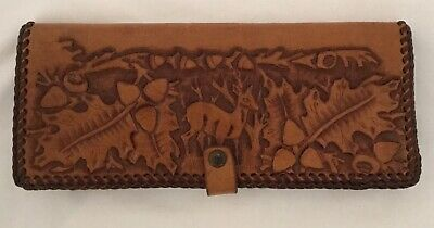 AS NEW Tooled Leather Wallet with Deer,