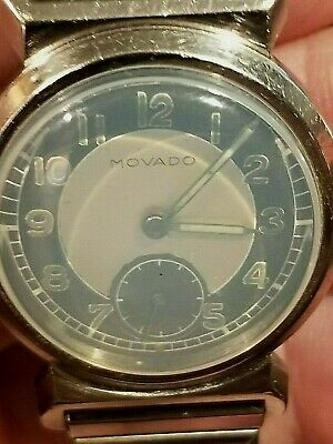 1930's ART DECO MOVADO 15J WRIST WATCH STAINLESS STEEL ODD COLOR FACE