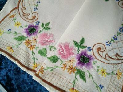 Gorgeous Swirls and Flowers  ~Vintage Hand Embroidered Centrepiece/Mat
