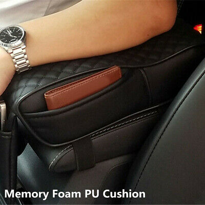 Universal Black Car Armrest Cover Consoles Box Pillow Memory Foam PU Cushion