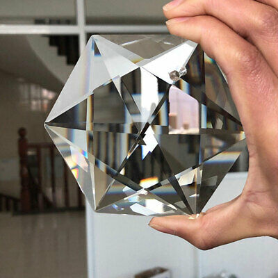 100MM Hexagram Large Crystal Chandelier Glass Prisms Pendant Hanging Decorations