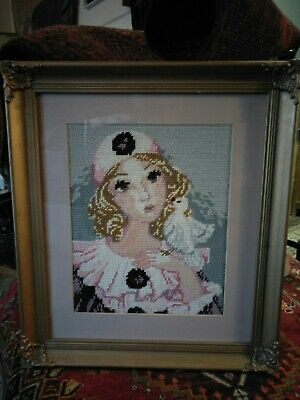 Vintage Tapestry Glass Framed Girl With The Bird