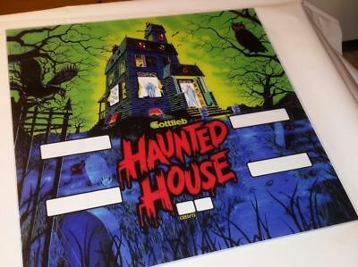 "Pinball backglass "" Haunted house "" gottlieb flipper backglass reproductions"