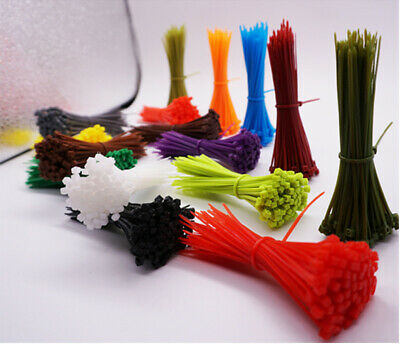 100 x Nylon Cable Ties Tie Extra Strong Premium Zip Ties Wrap Various Color Size