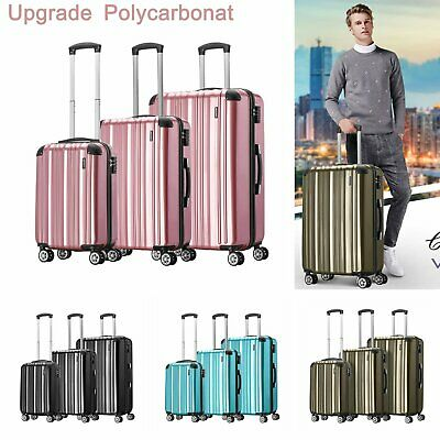 Hartschalen Reisekoffer Hard Shell Koffer PC Trolley M L XL Set 4 Rollen Spinner
