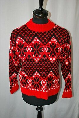 Vintage black & red snow flake patterned Christmas jumper size small
