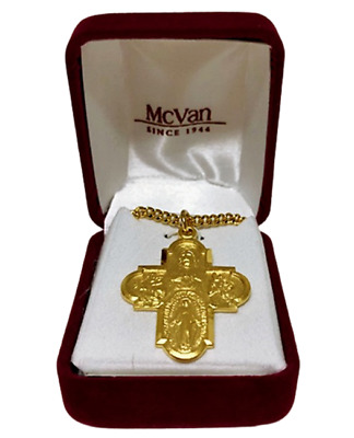 18K Gold over Sterling Silver 4-Way Catholic Laura Ingraham Replica Cross Medal