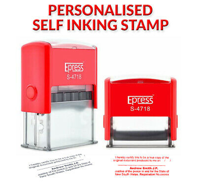Personalised Self Inking Stamp custom address or business name -47 x 18 mm