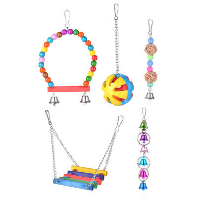 Hanging Bird Cage Hammock Swing Wood Beads Bell Toy for Parrots, Love Bird PS258