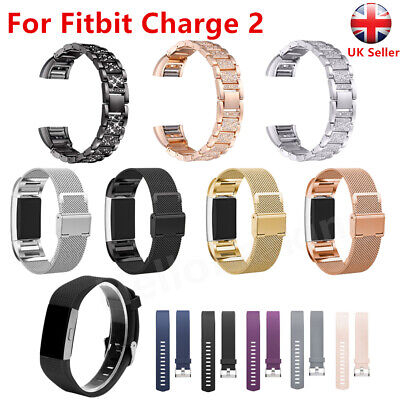For Fitbit Charge 2 Watch Strap Replace Band Crystal Milanese Stainless Steel UK