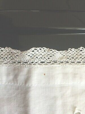 Edwardian? Nightdress Case In Cotton Surrounded By Lace.  Initialled C H.