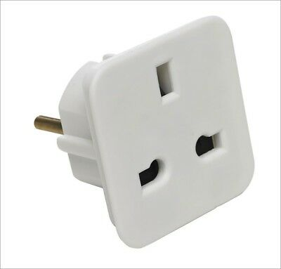 Adaptador red enchufe UK Ingles Reino Unido a Europeo UE Schuko Universal blanco