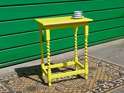 Antique Yellow Occasional Side Table Barley Twist Legs - Painted and Updated