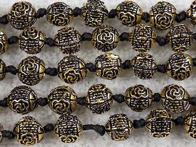 5 Strand Bronze Round Ball Rose Flower Spacer Beads 9mm Jewelry Making Finding.