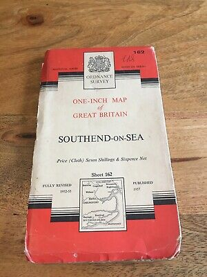 Vintage 1957 OS Ordnance Survey Seventh Series One-Inch Map 162 Southend-on-Sea
