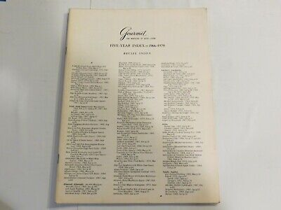 Gourmet Magazine 5 Year Index 1966-1970 French Cooking Deserts Sweets Recipe NN1