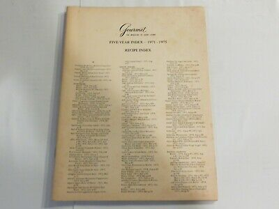 Gourmet Magazine 5 Year Index 1971-1975 French Cooking Deserts Sweets Recipe NN1