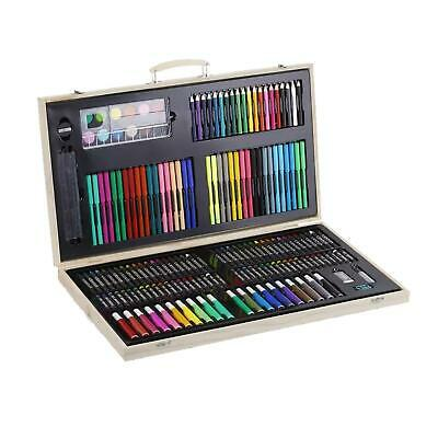 Kids 180pc Wooden Box Artist Deluxe Art Oil Pencils Pens Markers Paints Crayons