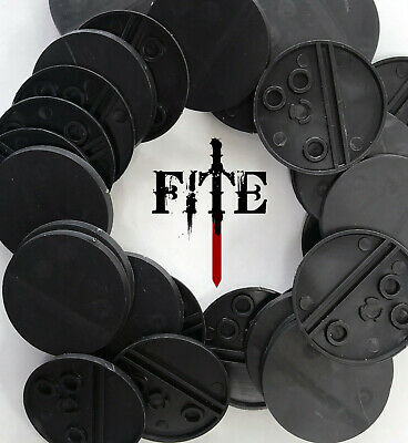 40mm round black plastic bases for Infinity Warhammer 40k base RPG *BRAND NEW*