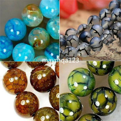 6/8/10mm Natural Dragon Veins Agate Onyx Gemstone Round Loose Beads 15inches