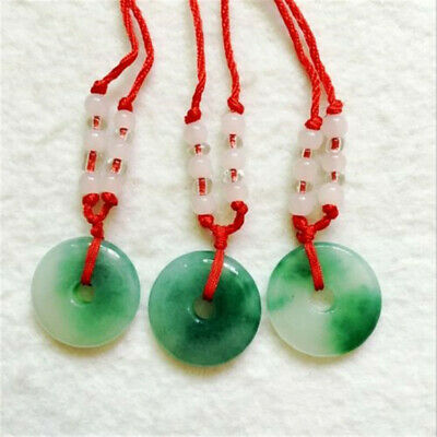 China hand-carved white green jade Pendant Round Safety buckle & Rope necklace
