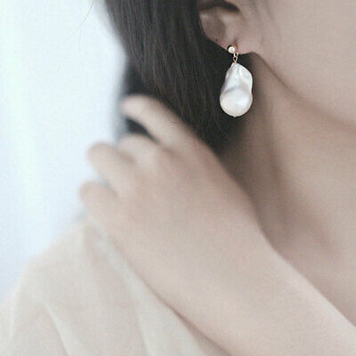 16-20mm white Baroque pearl earrings in 18k gold fashion vintage temperament