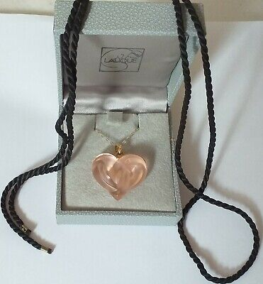 Pendant Crystal Entwined Hearts Signed Entwined Hearts Pink 9Ct Gold Chain- Nice